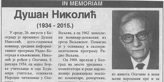 In memoriam Dušan Nikolić